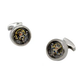 Gold Watch Movement Silver Cufflinks