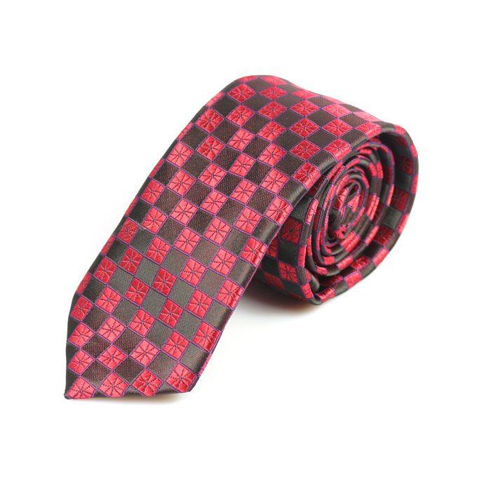 Red /& Grey Plaid Skinny Tie Midnight