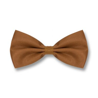 Brown Polyester Solid Skinny Bow Tie