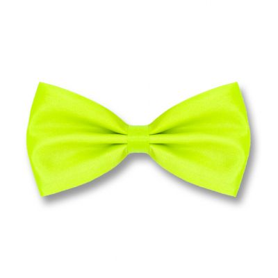 Green Yellow Polyester Solid Skinny Bow Tie