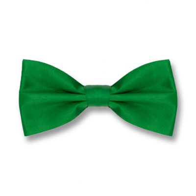 Shamrock Green Polyester Solid Skinny Bow Tie