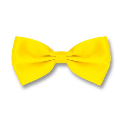 Yellow Polyester Solid Skinny Bow Tie