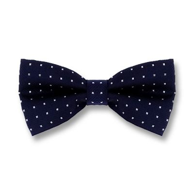 Midnight Blue and White Polyester Floral Butterfly Bow Tie