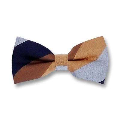 Brown, Brown Sugar and Midnight Blue Polyester Striped Butterfly Bow Tie