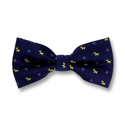 Midnight Blue, Corn Yellow and White Polyester Novelty Butterfly Bow Tie