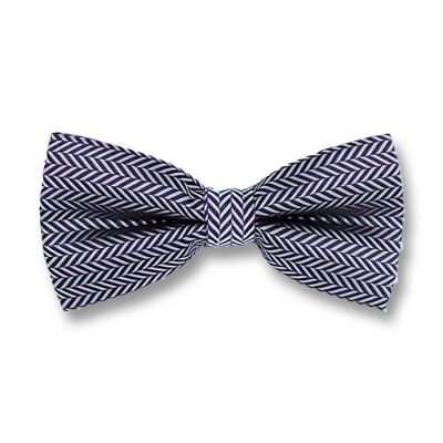 White and Midnight Blue Polyester Checkered Butterfly Bow Tie