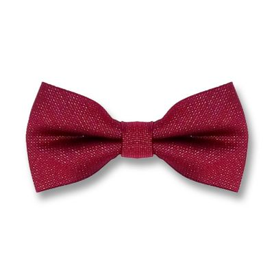 Burgundy and White Polyester Polka Dot Butterfly Bow Tie