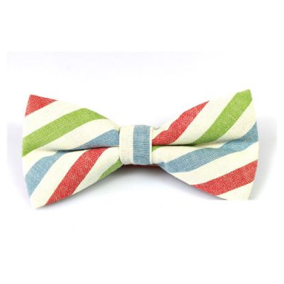 Rose Gold, White, Mint green and Moccasin Cotton Striped Butterfly Bow Tie