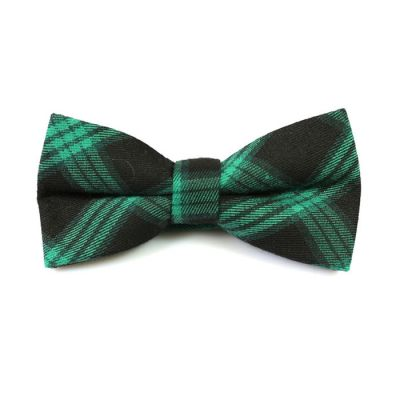 Sea Turtle Green and Black Cotton Plaid Butterfly Bow Tie