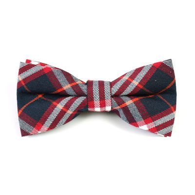 Midnight, White, Midnight Blue and Tiger Orange Cotton Plaid Butterfly Bow Tie