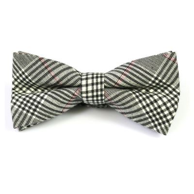SeaShell, Black and Cranberry Cotton Plaid Butterfly Bow Tie