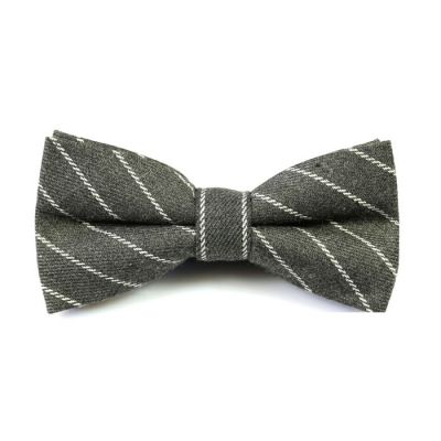 Dark Slate Grey and White Cotton Striped Butterfly Bow Tie