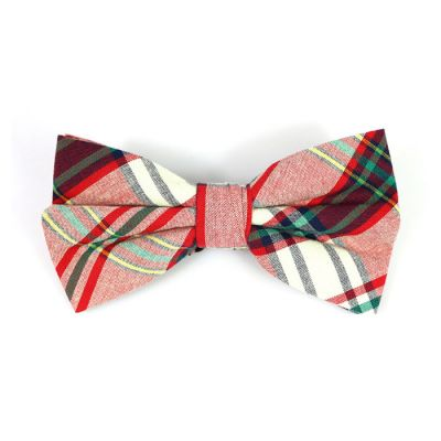 SeaShell, Red, Yellow, Frog Green and Dark Slate Grey Cotton Plaid Butterfly Bow Tie