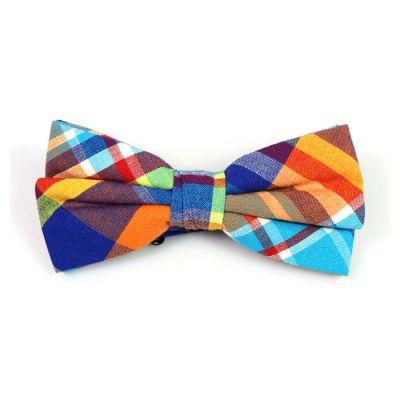 Mint green, Tiger Orange, Midnight, Purple Iris and Mint green Cotton Plaid Butterfly Bow Tie