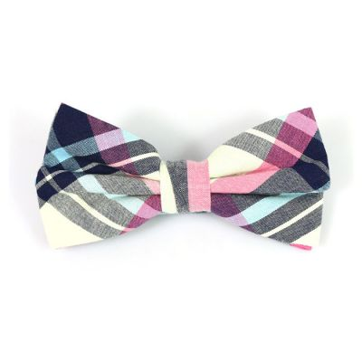 SeaShell, Mint green, Rose Gold and Black Cotton Plaid Butterfly Bow Tie