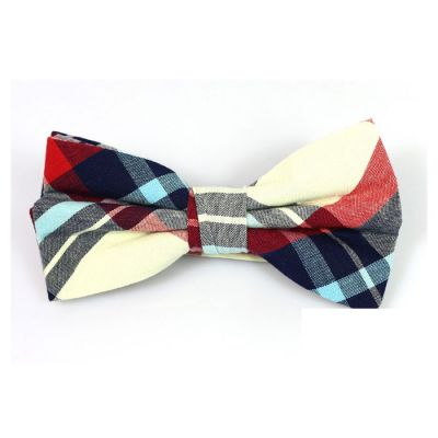 SeaShell, Mint green, Midnight and Midnight Blue Cotton Plaid Butterfly Bow Tie