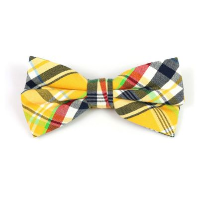 Green Apple, Yellow, White and Gray Wolf Cotton Plaid Butterfly Bow Tie