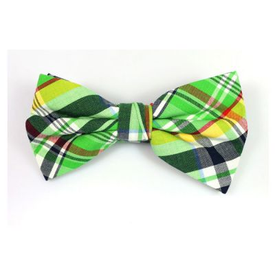 Dark Forest Green, White, Green Apple, Midnight, Black and Yellow Cotton Plaid Butterfly Bow Tie