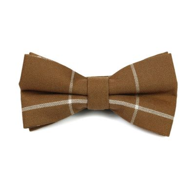 Coffee and White Cotton Striped Butterfly Bow Tie