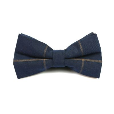 Midnight Blue and Peach Cotton Striped Butterfly Bow Tie