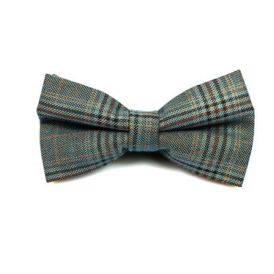 Mint green, Peach, Brown and Night Cotton Plaid Butterfly Bow Tie