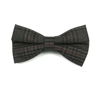 Dark Slate Grey, Brown and Night Cotton Plaid Butterfly Bow Tie