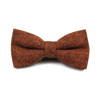 Brown Cotton Polka Dot Butterfly Bow Tie