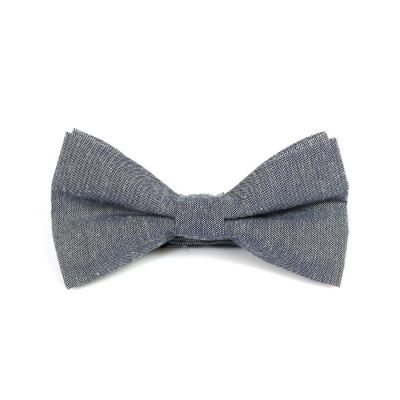 Mist Blue Polyester Solid Butterfly Bow Tie