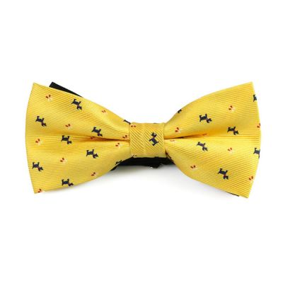 Yellow, Midnight Blue and Red Polyester Novelty Butterfly Bow Tie