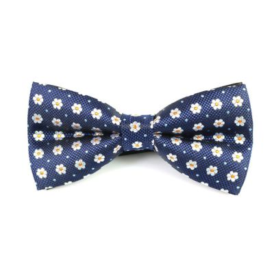 Sapphire Blue, White and Wood Polyester Floral Butterfly Bow Tie