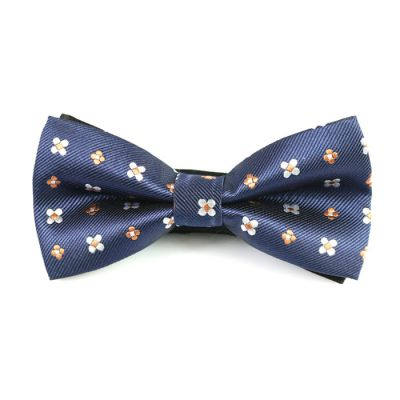 Sapphire Blue, Coffee and White Polyester Floral Butterfly Bow Tie