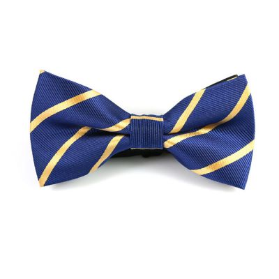 Sapphire Blue and Mustard Polyester Striped Butterfly Bow Tie