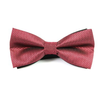 Pale Violet Red Polyester Striped Butterfly Bow Tie