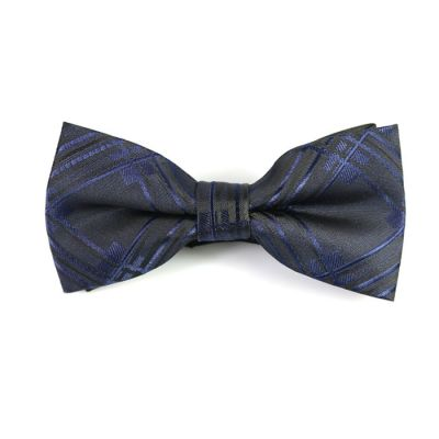Dark Slate Grey and Purple Iris Polyester Checkered Butterfly Bow Tie