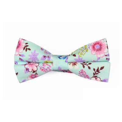 Mint green, Pink and Mahogany Cotton Floral Butterfly Bow Tie