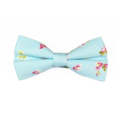 Mint green, White and Pink Cotton Floral Butterfly Bow Tie