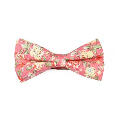 Bean Red, SeaShell, Mint green and Cranberry Cotton Floral Butterfly Bow Tie