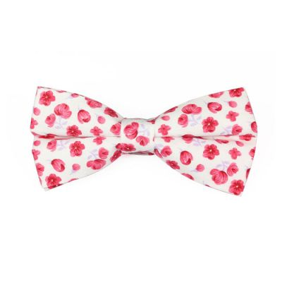 White and Burgundy Cotton Floral Butterfly Bow Tie