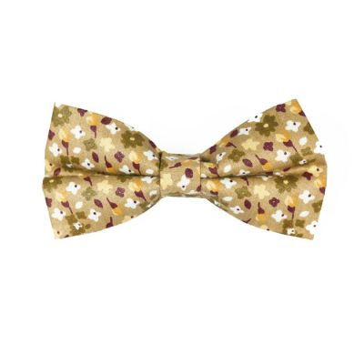 Mustard, Mahogany, White and Venom Green Cotton Floral Butterfly Bow Tie