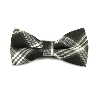 Dark Slate Grey and SeaShell Cotton Plaid Butterfly Bow Tie