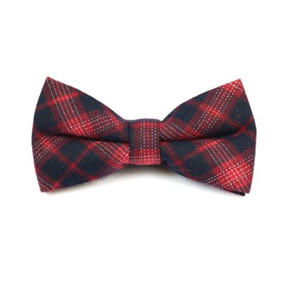 Night, Valentine Red and SeaShell Cotton Plaid Butterfly Bow Tie