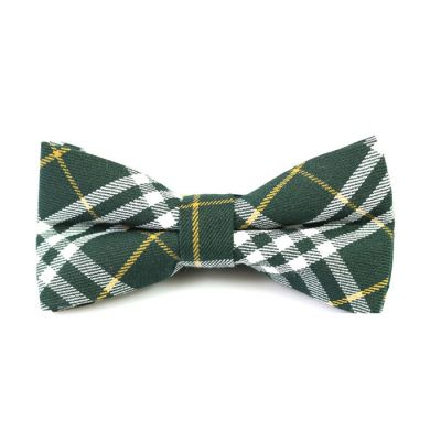 Dark Forest Green, Orange and White Cotton Plaid Butterfly Bow Tie
