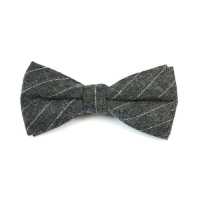Iridium and SeaShell Cotton Striped Butterfly Bow Tie