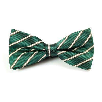Sea Turtle Green and SeaShell Polyester Striped Butterfly Bow Tie