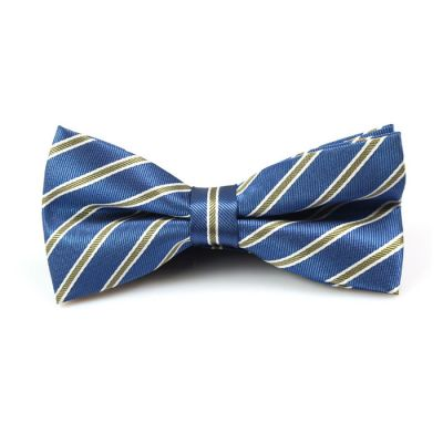 Lapis Blue, Brown and White Polyester Striped Butterfly Bow Tie