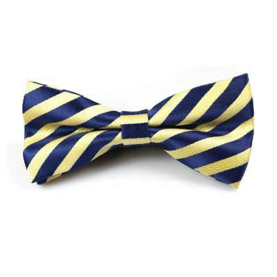 Sun Yellow and Midnight Blue Polyester Striped Butterfly Bow Tie
