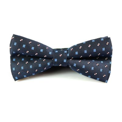 Midnight Blue, Slate Blue and White Polyester Novelty Butterfly Bow Tie