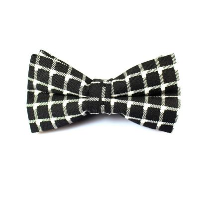 Black and White Polyester Checkered Butterfly Bow Tie