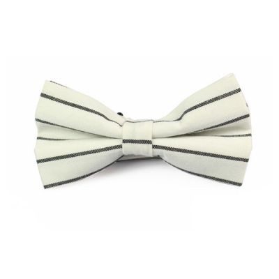 White and Black Polyester Striped Butterfly Bow Tie