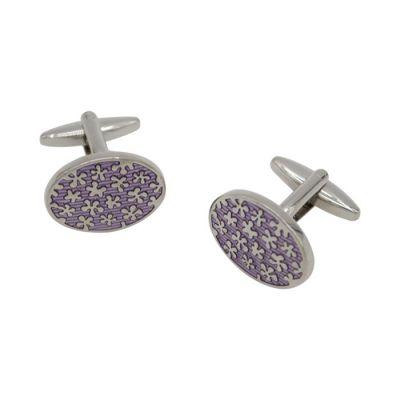 Purple Floral Blue Cufflinks